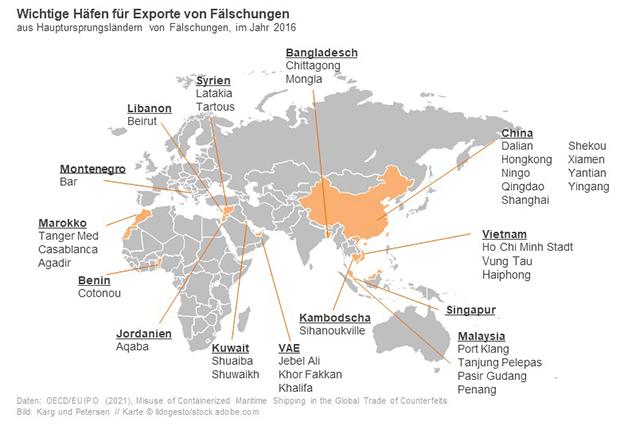 Wichtige Häfen für Exporte