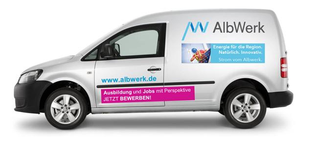 Albwerk - Employer-Branding Fahrzeugbeklebung