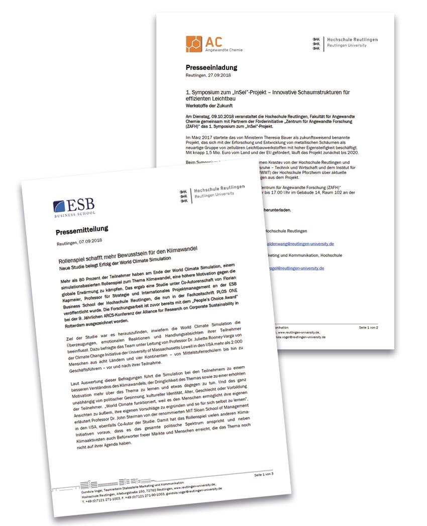 Pressemitteilung Der Hochschule Reutlingen